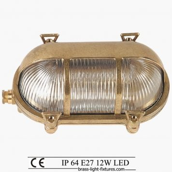 Nautical brass light. Whilst perfect for outdoor these also fit very well in themed bars and restaurants, the glow of a filament lamp diffused to create warm pockets of light over tables and walkways. Bulkhead outdoor wall sconce