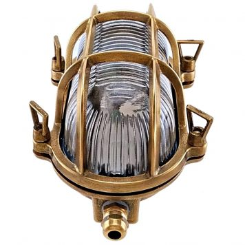 bulkhead lights. Outdoor brass oval bulkhead. garden wall, ceiling light.