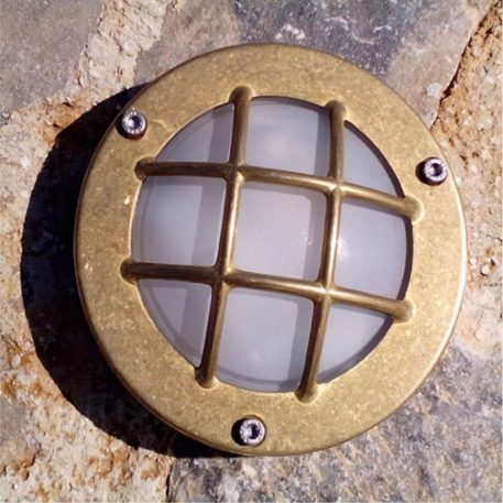 Ceiling lights or wall lights. Round bulkhead light diecast brass with crossguard