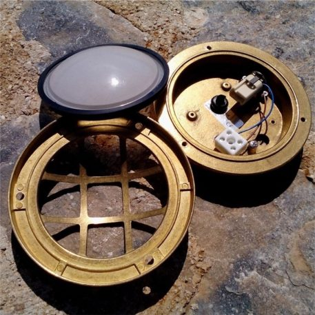 Ceiling lights or wall lights. is to illuminate the exterior of your home with traditional brass nautical light fixtures.