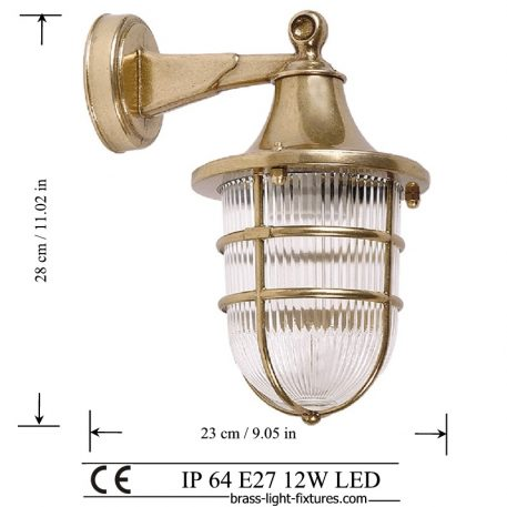 Nautical wall sconce lighting. Brass wall light fixture.