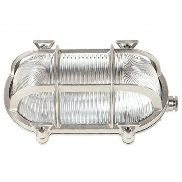 Oval Bulkhead Light. Wall or ceiling, in nickel mat finish.