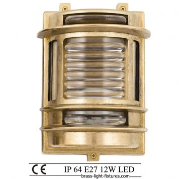 Exterior brass wall light. Outdoor nautical style lights
