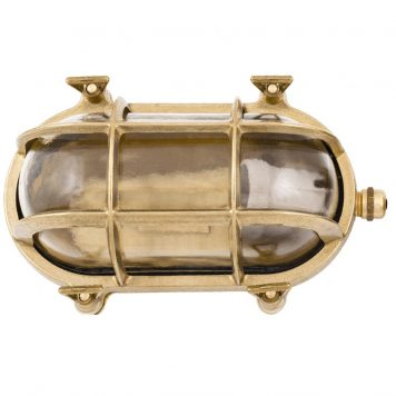 Patio wall lighting . Nautical style bulkhead wall light in brass