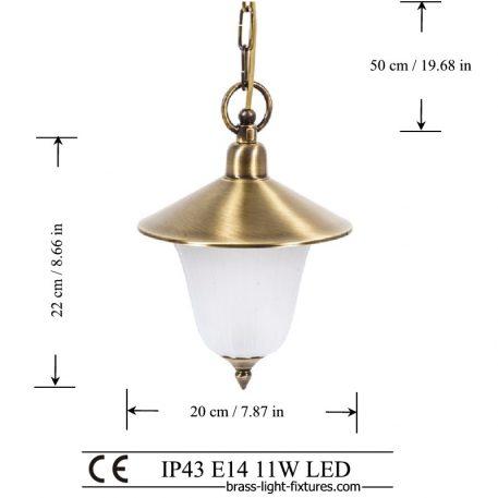 Antique brass single light. Brass pendant lighting