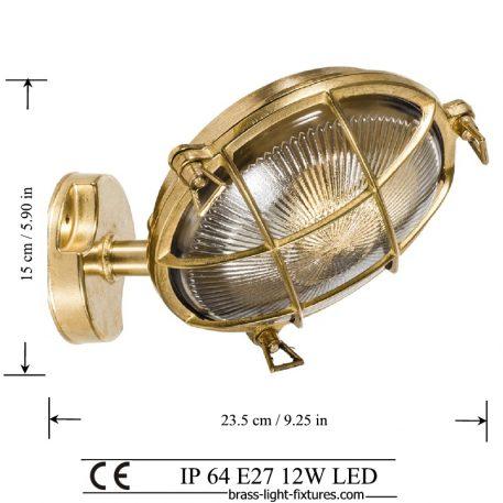 Brass bulkhead outdoor wall light.