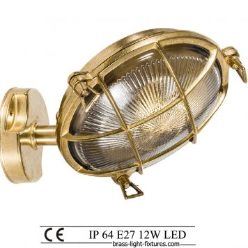 Brass bulkhead outdoor wall light.