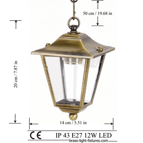 Pendant Lights, Exterior – Interior Lantern Made of Brass in brass antique finish