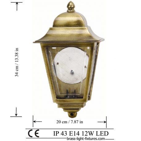 Traditional Wall Lantern. Made of Brass in brass antique finish. ART BR490 Brass antique