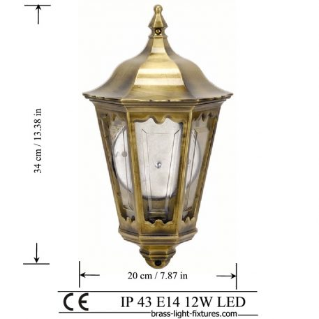 Brass Half Lantern. Made of Brass in brass antique finish. ART BR491 Brass antique