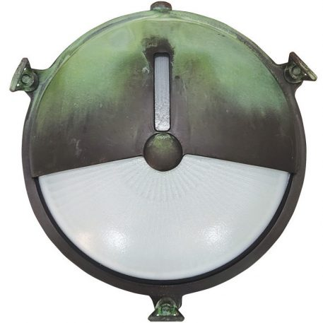 Nautical themed outdoor light. Decorative Design Made of Brass in Oxidized Green Finish