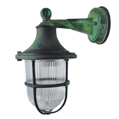 Outdoor Wall Lantern, Made of Brass in Green Oxidized Finish